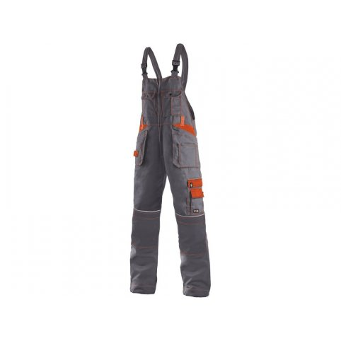 Pánske nohavice na traky ORION KRYŠTOF, sivo-oranžové