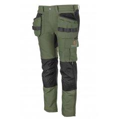 Pánske strečové monterkové nohavice EREBOS Promacher, zeleno-čierne