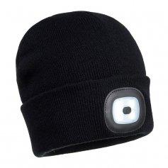 Zimná čiapka s LED svetlom, čierna