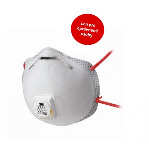 Respirátor 3M 8833, tvarovaný, výdychový ventilček, 0% DPH