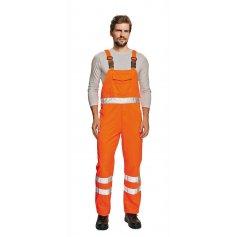 Monterkové nohavice KOROS na traky, s reflexnými pruhmi, oranžové