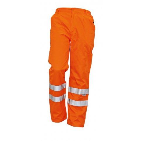 Monterkové nohavice KOROS do pása, s reflexnými pruhmi, oranžové
