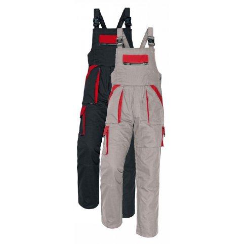 MAX nohavice s náprsenkou čierno-červené