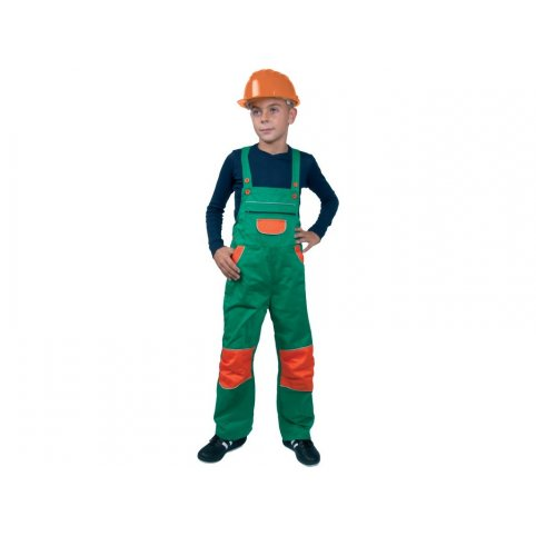 Detské nohavice na traky PINOCCHIO, zeleno-oranžové