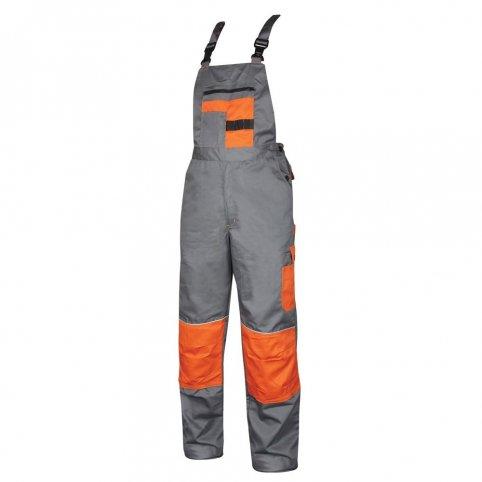 Monterkové nohavice na traky 2STRONG, sivo-oranžové