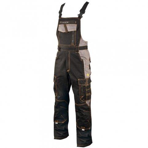 Monterkové nohavice na traky VISION, čierno-sivé