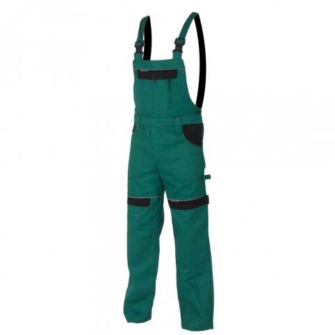 Predĺžené monterkové nohavice COOL TREND na traky, zeleno-čierne