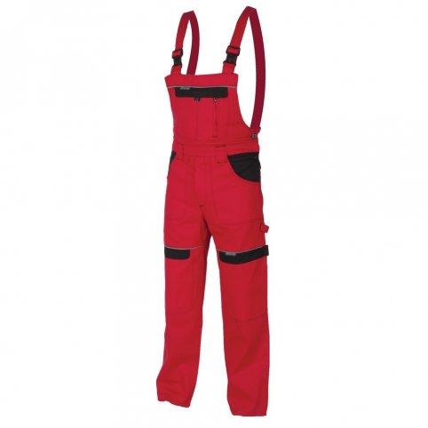 Predĺžené monterkové nohavice COOL TREND na traky, červeno-čierne