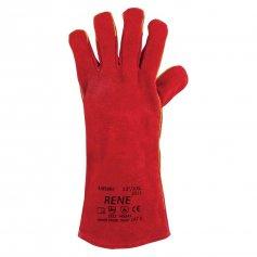 Celokožené rukavice RENE PATON, červené