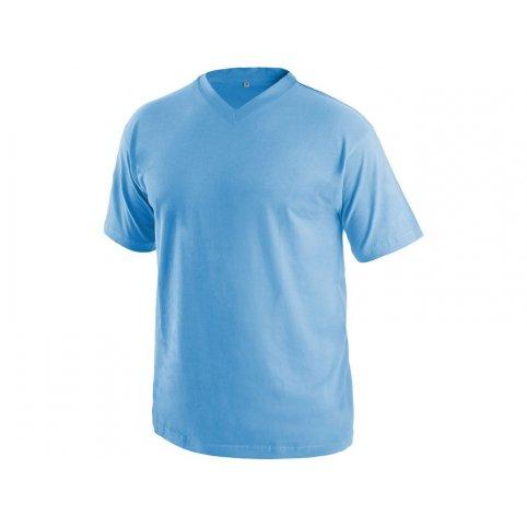 Tričko s krátkym rukávom DALTON, výstrih do V, svetlo-modré