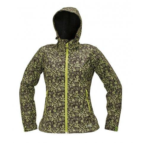 Dámska softshellová bunda YOWIE PRINTED, zeleno-hnedá