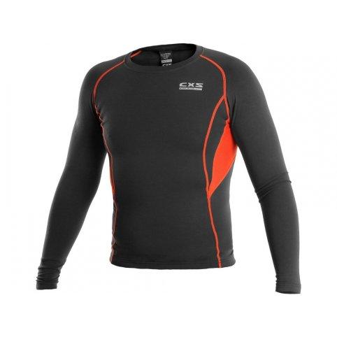 Pánske funkčné tričko COMFORT, dl. rukáv, čierno-oranžové