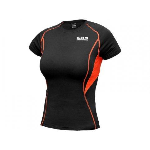 Dámske funkčné tričko COMFORT, kr. rukáv, čierno-oranžové