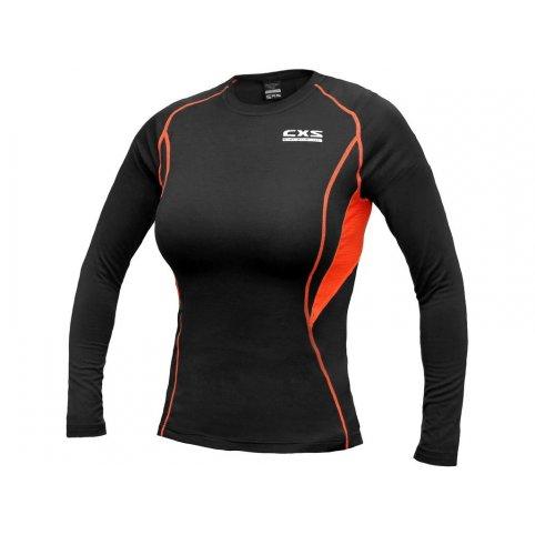 Dámske funkčné tričko COMFORT, dl. rukáv, čierno-oranžové