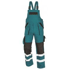 Montérkové nohavice s náprsenkou MAX REFLEX, zeleno-čierne