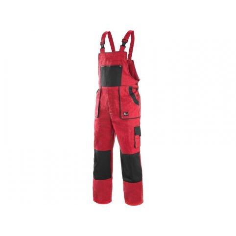 Pánske predĺžené nohavice na traky CXS LUXY ROBIN, červeno-čierne