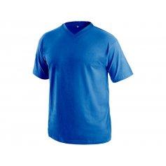 Tričko s krátkym rukávom DALTON, výstrih do V, tmavo-modré
