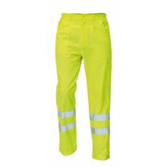 Monterkové nohavice KOROS do pása, s reflexnými pruhmi, žlté