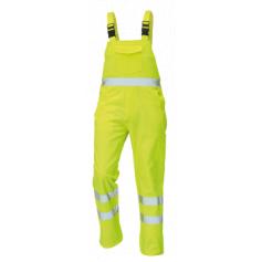 Monterkové nohavice KOROS na traky, s reflexnými pruhmi, žlté