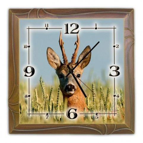Nástenné drevené hodiny s motívom SRNEC 6c142943276