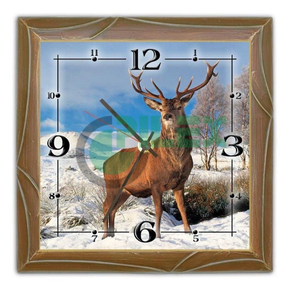 Nástenné drevené hodiny s motívom JELEŇ c449af67b25