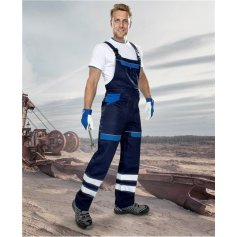Monterkové nohavice COOL TREND REFLEX na traky, tm.modro-sv.modré