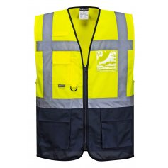 Reflexná vesta manažérska C476 Warssaw, žlto-tm.modrá