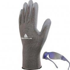 Povrstvené rukavice VE702PG,12párov+okuliare