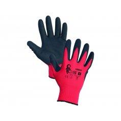 Povrstvené rukavice ALVAROS s blistrom, červeno-čierne